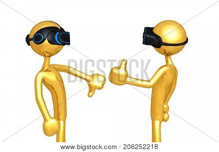 Thumbs Down Thumbs Up The Original 3D Characters Illustration Wearing Virtual Reality Headsets
