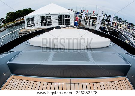 NORWALK, USA - SEPTEMBER 21, 2017: View from Pershing 70 Ferretti Group boat exhibit in Norwalk Boat Show 2017