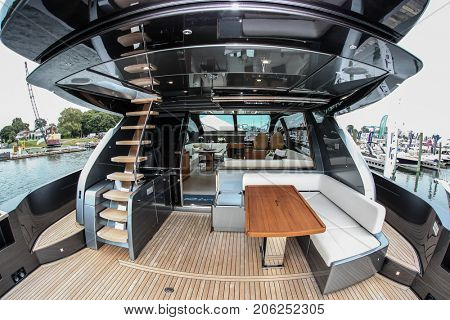 NORWALK, USA - SEPTEMBER 21, 2017: Riva 76 Perseo from Ferretti Group view from exhibit in Norwalk Boat Show 2017
