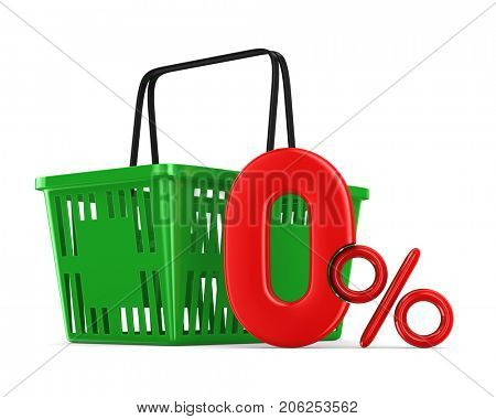 Green empty shopping basket and zero percent on white background. Isolated 3d illustration