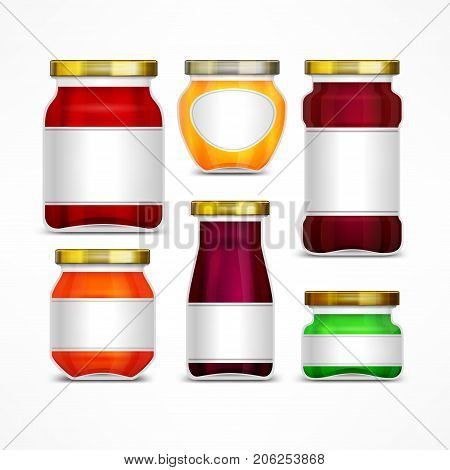 Fruit jam jars with label natural marmalade and honey preserve on white vector illustration
