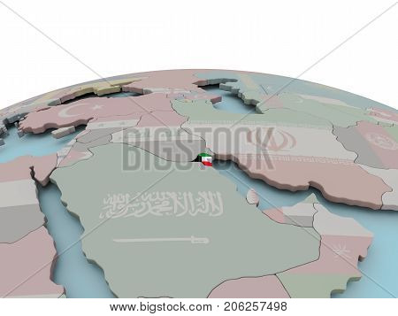 Political Map Of Kuwait On Globe With Flag