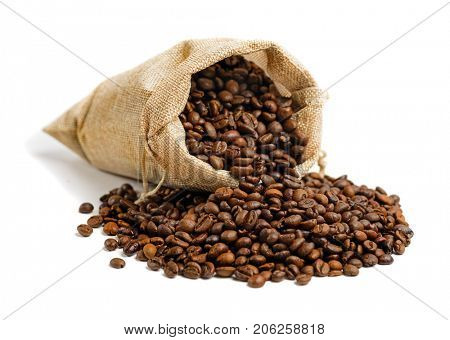 Coffee beans in jute sack  isolated on white background