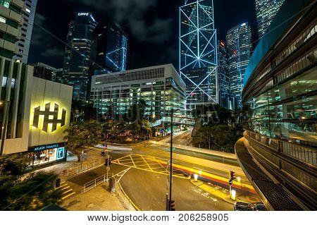 HONG KONG - NOVEMBER 12: Hong Kong street at night, China,  November 12 2010 in Hong Kong, China