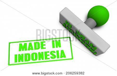 Made in Indonesia Stamp or Chop on Paper Concept in  3D Illustration Render