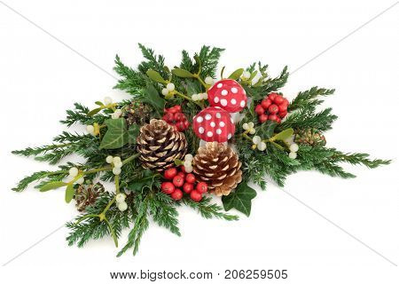 Fantasy christmas decoration with fly agaric mushroom ornaments, holly, ivy, mistletoe and winter greenery with gold pine cones on white background.