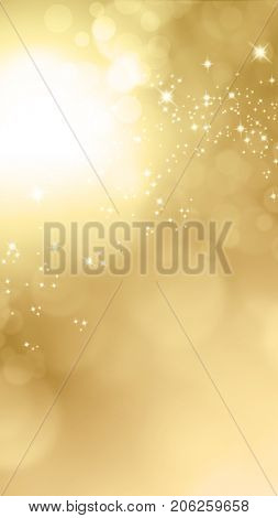 Sparkle gold banner background with blurry bokeh lights