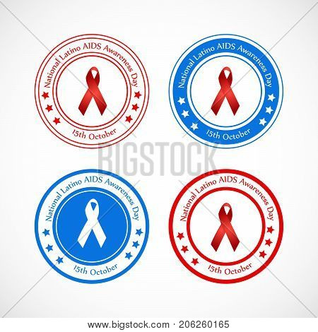illustration of stamps and ribbons with National Latino AIDS Awareness Day 15th October text on the occasion of National Latino AIDS Awareness Day