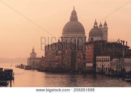 Church Santa Maria della Salute and Grand Canal view, Venice, Italy.