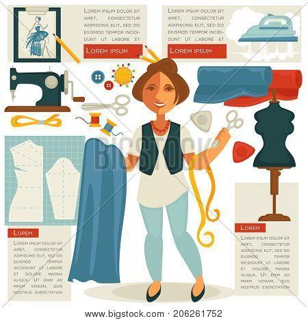 Atelier tailor or dressmaker designer profession woman  flat template
