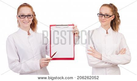 Young  medical  student  with   binder isolated on white