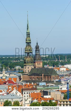 View at St. Peter's Church in Riga city from above, Latvia