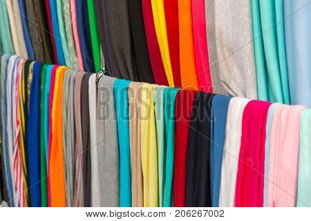 Fabric textile showcase, colorful materials