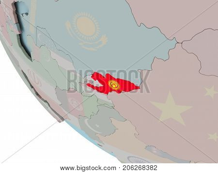 Kyrgyzstan With Flag Illustration