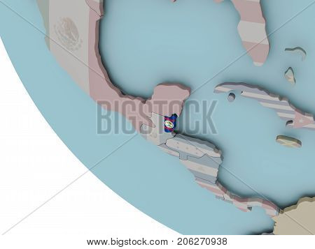 Belize With Flag Illustration