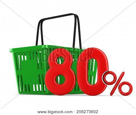 Green empty shopping basket and eighty percent on white background. Isolated 3d illustration
