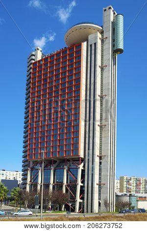 HOSPITALET DE LLOBREGAT, SPAIN - SEPTEMBER 2, 2017: The NH Collection Barcelona Tower, in Hospitalet de Llobregat, Spain, formerly known as Hesperia Tower, the 11th tallest skyscraper in Catalonia