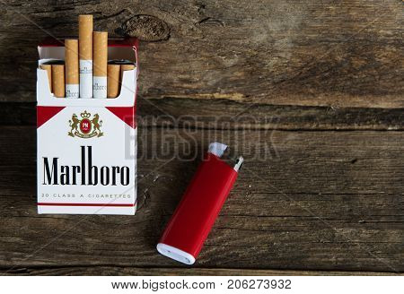 MOSCOW - SEPTEMBER 20,2017: Pack of Marlboro Cigarettes, made by Philip Morris. Marlboro is the largest selling brand of cigarettes in the world.