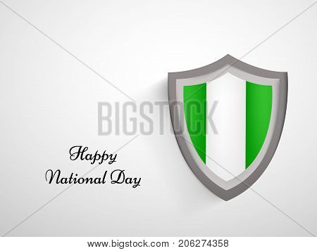 illustration of shield in Nigeria flag background with Happy National Day text on the occasion of Nigeria National Day