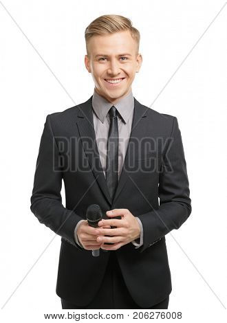Young presenter with microphone on white background