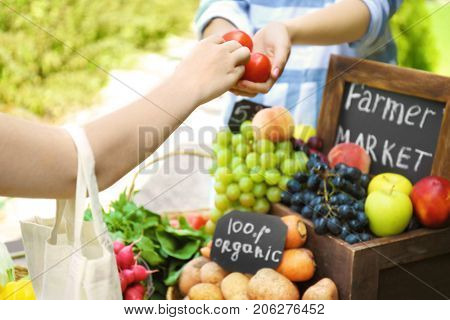 Woman buying products at farmer's market