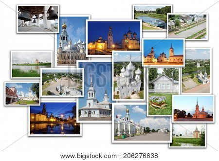 Collage with Vologda (Russia) views - St. Sophia cathedral, Kremlin square, Alexander Nevsky Church, Belfry Sophia Cathedral