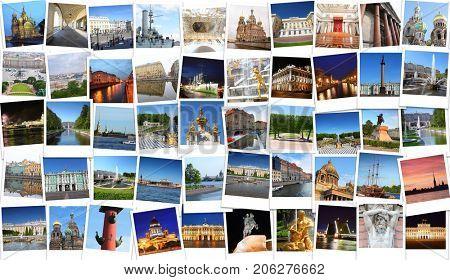 Collage with Saint-Petersburg views - Hermitage, Palace Bridge, Petergof, Kazan Cathedral, St. Isaac Cathedral, Alexander Column poster