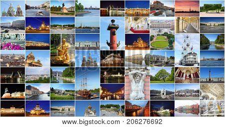 Collage with Saint-Petersburg views - Hermitage, Palace Bridge, Petergof, Kazan Cathedral, St. Isaac Cathedral poster