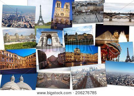 Collage with Paris views - Eiffel Tower, Arc de Triomphe, Louvre, Notre Dame de Paris Cathedral