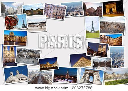 Collage with Paris views - Eiffel Tower, Arc de Triomphe, Montmartre, Louvre, Notre Dame de Paris Cathedral
