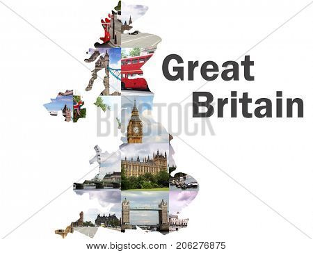 Map pf England with London views - Tower Bridge, Big Ben, Westminster Palace