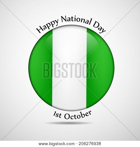 illustration of button in Nigeria flag background with Happy National Day text on the occasion of Nigeria National Day