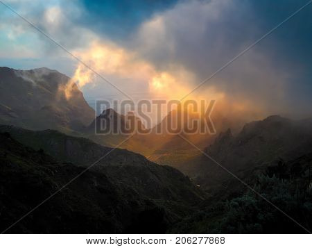 sunset over Carrizales canyon in Tenerife, Canary islands, Spain