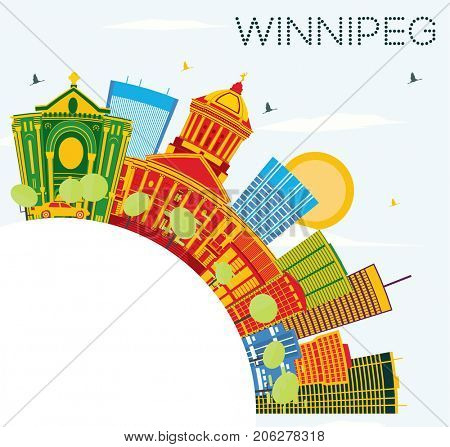 Winnipeg Skyline with Color Buildings, Blue Sky and Copy Space. Business Travel and Tourism Concept with Modern Architecture. Image for Presentation Banner Placard and Web Site.