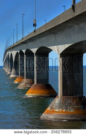 Side view of the Confederation bridge in Prince Edward island in Canada