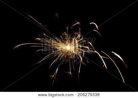 Sparkler lights on a black background