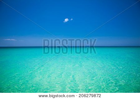 Turquise color water on White beach , Borocay island. Philiphines.