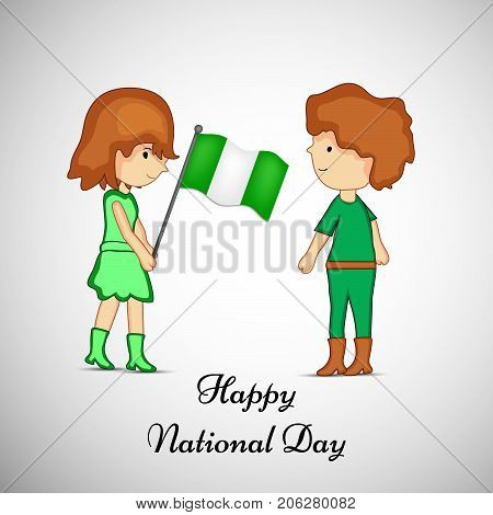 illustration of boy and girl holding Nigeria flag with Happy National Day text on the occasion of Nigeria National Day