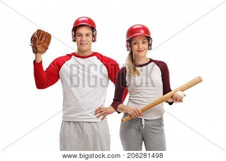 Male baseball player with a glove and a female baseball player with a bat isolated on white background