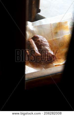 traditional very hot calabrese salami called soppressata