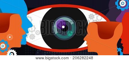 clear vision big eye thinking concept of digital surveillance technology watching privacy spy vector
