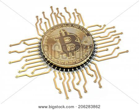 Bitcoin like a  CPU computer processor isolated on white background.  3d illustration.