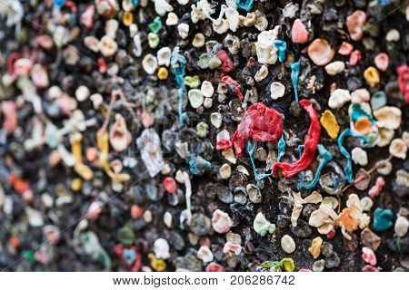Bubble gum alley wall of chewed gum