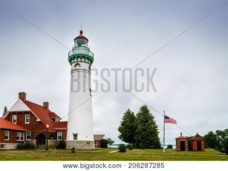 Seul Choix Point historic lighthouse on north shore of Lake Michigan