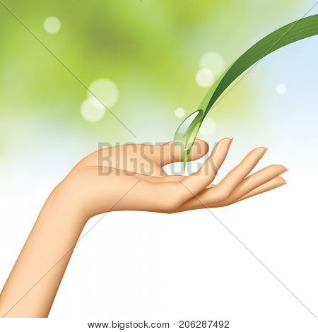 Woman's hand under water drop flowing down the green leaf