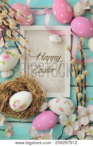 colorful easter greeting card with easter eggs and spring flowers