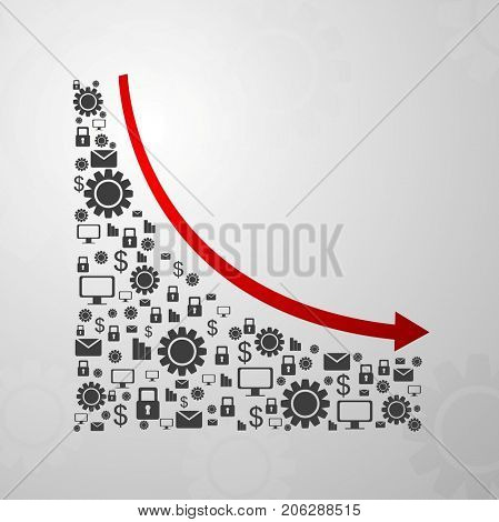 Abstract decline graph arrow with communication icons