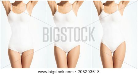 Collage of a fit beautiful and perfect female body in white swimsuit. Health, sport, fitness, nutrition, weight loss, diet, cellulite removal, liposuction, healthy life-style concept.