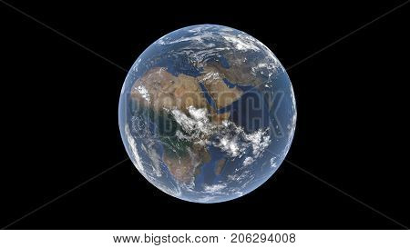 Globe behind a layer of clouds well visible to Madagascar Africa Arabian Peninsula and India isolated Earth globe 3d rendering elements of this image are furnished by NASA
