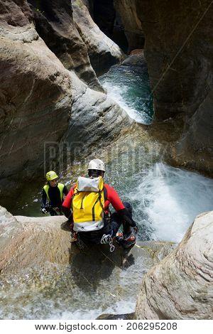 Canyoning in Gorgol Canyon, Tena Valley, Pyrenees, Huesca Province, Aragon, Spain.